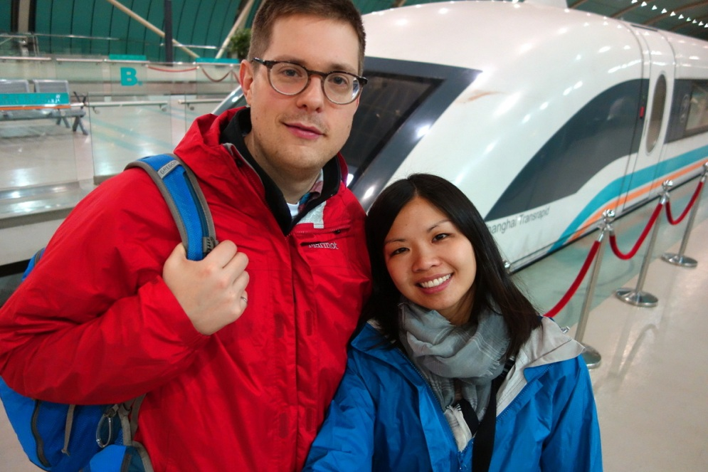 Jesse's first trip on the Maglev!!