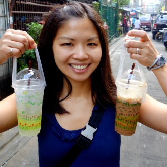 Beverages with plastic bag holding devices