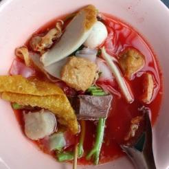 Mystery pink noodle soup