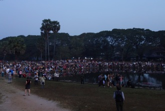 Sunrise at Angkor Wat with hundreds of other tourists...not so romantic