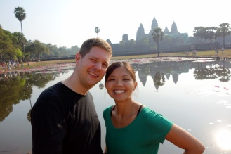 Squinty-eyed and joking around, here's our obligatory Lotus Pond reflection shot!