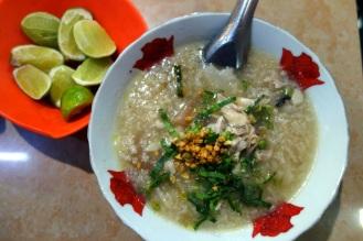 Pork rice porridge at Central Market
