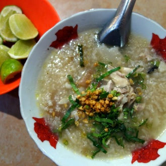 Pork rice porridge at Central Market