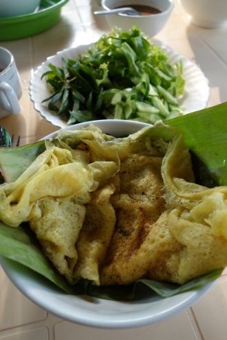My Homestay breakfast - Cambodian pancake with chicken and veggies inside