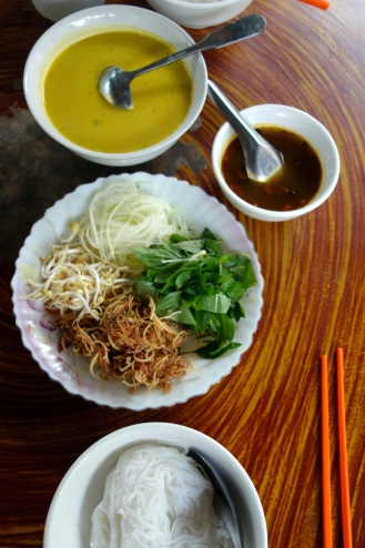 My Homestay breakfast - Cambodian curry fish soup