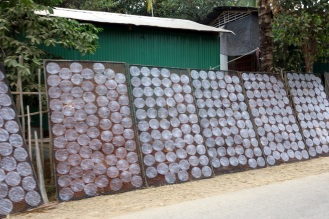Rice paper drying beside the road