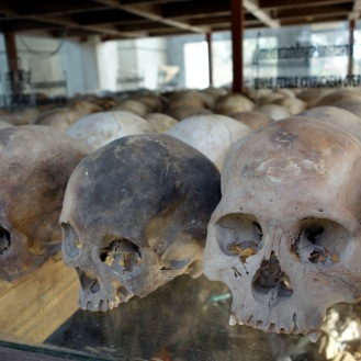 Genocide victim skulls inside the Stupa
