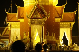 The Royal Palace getting set up for the former King Norodom Sihanouk's funeral the next day...