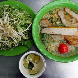 Breakfast noodle soup with tasty fish balls and fish cake