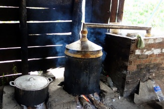 Local rice wine production. Note the final vessel (aquafina bottle on the right)