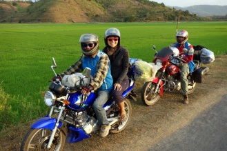 Sunset stop beside rice paddies