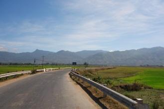On the road through rice paddies
