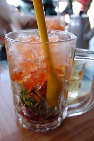 """cocktail"" snack. Interesting drink."