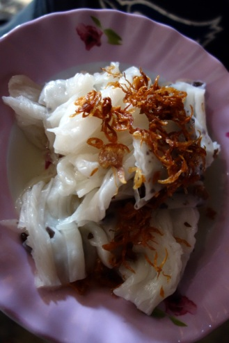 Fresh rice noodles filled with mushrooms. Delicious.