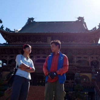 Visiting a pagoda in Pleiku.