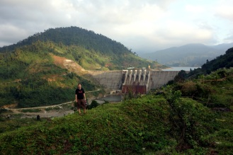 Hydroelectric dam in the mountains.