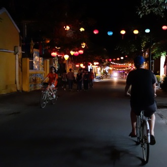 Biking among the lanterns in the old town