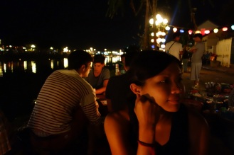 Riverside dinner on new years eve waiting for midnight fireworks.