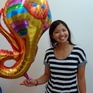 Andrea with her snake balloon (named Oscar)