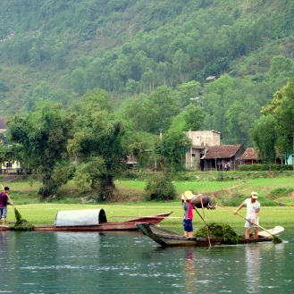 Locals harvesting riverweed