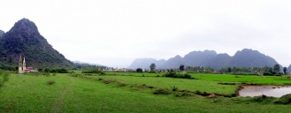 Rice paddies and cemetery (in the distance)