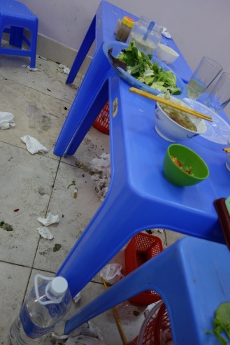 As told to us by our easy rider guide Kim, a sign of a great street food restaurant: filthy floors, meaning they are so busy there is no time to clean up)