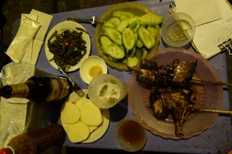 Grilled chicken and accompanying sides