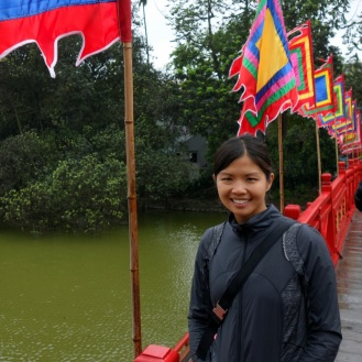 On the bridge to the temple in Hoan Kiem Lake