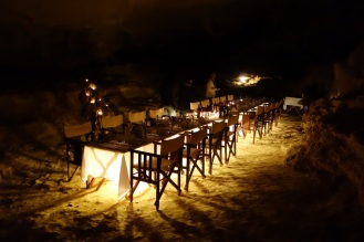 Cave dinner setup