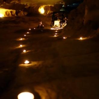 Tea light walkway inside cave