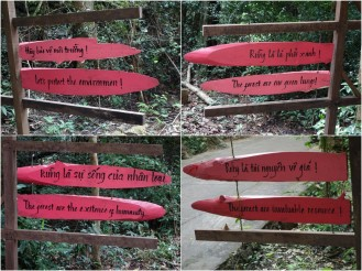 Preachy and hilarious enviro signs on the road to Paradise Cave.