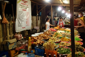 Night market with vegetarian buffets serving only tourists