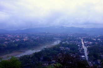 Rainy day view of Luang Prabang from Mount Phou Si