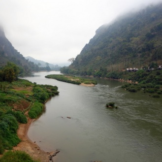 View of Nam Ou from Nong Khiaw bridge