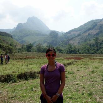 Treking through dried up rice fields