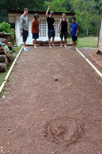 Game of pétanque (seems to be te national game of Laos)