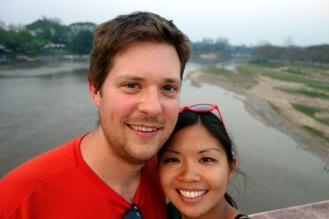 Biking over the river in Chiang Rai
