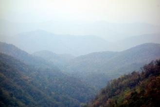 Hazy mountain views