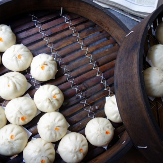 Delicious steamed buns in a chinatown alleyway