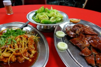 Dinner at Sek Yuen. Veggies, duck and fish.