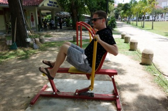 Testing out the public exercise machines
