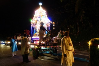 Hindu festival parade through the streets of Tanah Rata. A massive diesel generator was wheeled around behind to power all of the lights.