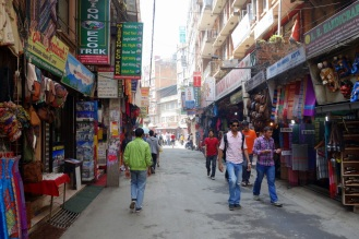 Walking through Thamel. Trekking gear everywhere.