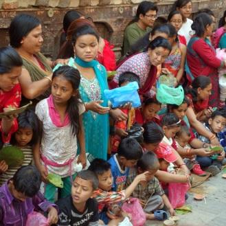 Closeup of kids waiting