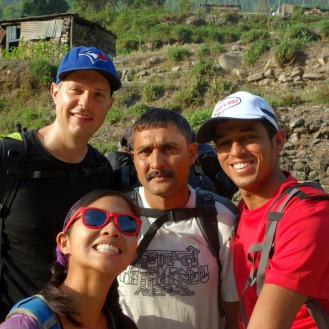 First group shot. Hari on the right, Dev in the middle looking unimpressed. Just outside of Besi Sahar