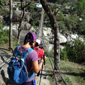 Crossing one of many suspension bridges