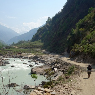 Along the river. Manaslu range in the background.