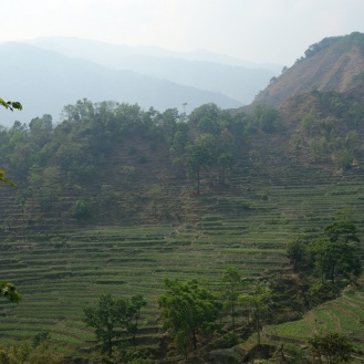 On the path up to Bahundanda (atop the hill on the right)
