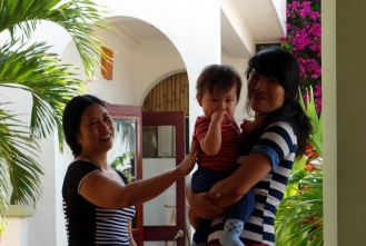 Huong and Jenny hanging with Daniel