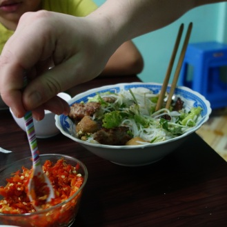 Bun Thit Nuong with some local kids